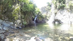 Waterfall Fonias canyon in forest, Samothraki island wild nature - stock footage
