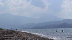 The Beach in Turkey Mountains 7 Stock Footage