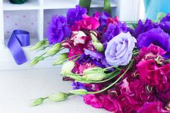 Bunch of  purple and mauve  eustoma flowers Stock Photos