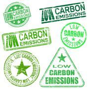 low carbon emissions stamps - stock illustration