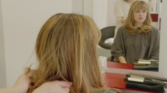 Hairdresser Woman Finishing Hair Cut - stock footage