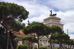 Stock Photo of park near  the monument to victor emmanuel ii. piazza venezia, rome  , italy