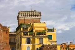 Beautiful house near the picturesque ruins in rome, italy Stock Photos