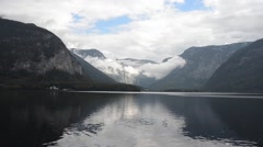 Hallstatt lake postcard view with overcast weather - stock footage