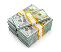 Stack of new 100 US dollars 2013 edition banknotes - stock illustration