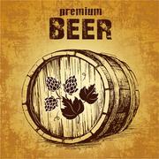 Beer keg with hop for label, package.barrel Stock Illustration