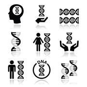 Human DNA, genetics vector icons set - stock illustration