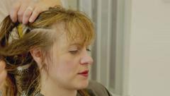 Hairdresser Woman Pin Up Hair Stock Footage