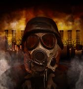 gas mask war soldier in polluted danger city - stock photo