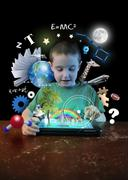 Internet tablet boy with learning tools Stock Illustration