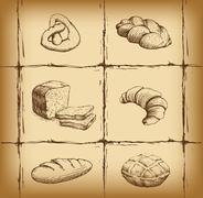 Bakery. loaf, baguette, baked goods, croissant, cupcake, bagel. - stock illustration