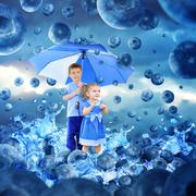 children in raining blueberries with umbrella - stock illustration