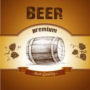 beer keg with hop for label, package.barrel - stock illustration
