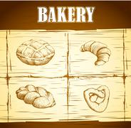 Bakery. loaf, baguette, baked goods, croissant, cupcake, bagel. Stock Illustration