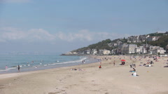 Beach of Trouville, France Stock Footage