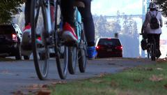 People On Bikes In Park - 05 - stock footage