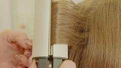 Hairdresser Young Girl Hair Glazing Stock Footage