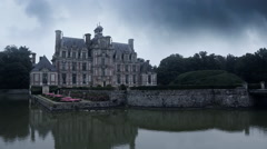 Chateau de Beaumesnil in front Stock Footage
