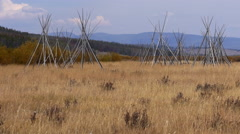 Teepee Poles at Big Hole National Battlefield Stock Footage