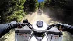 POV land motorized ATV vehicle driving Off road Quad bike 4x4 Canada - stock footage