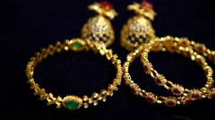 closeup of Gold Rings and bangles - stock footage