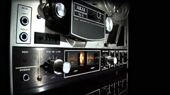 Tape recorder-reel to reel-11 left side Wide angle CU of lower 1/2 Stock Footage