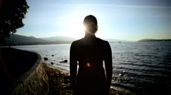 Dawn Celebration Early Morning Healthy Outdoors Silhouette Young Fit Female - stock footage