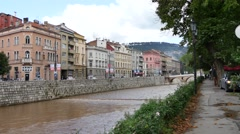 Sarajevo river miljacka after rain Stock Footage