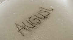 Travel summer concept, gentle waves arriving on a tropical beach and wash aug Stock Footage