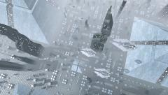 Aerial shot of a futuristic city with spaceships Stock Footage