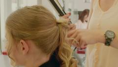 Hairdresser Young Girl Hair Pinup Stock Footage