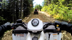 POV Quad bike drive ATV transport 4x4 adventure vehicle travel Canada Stock Footage