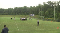 Extra point kick good day game wide shot Stock Footage