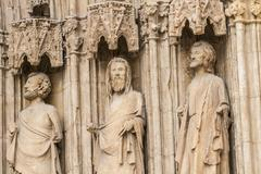 Apostles, ornaments and sculptures of gothic style, spanish ancient art Stock Photos