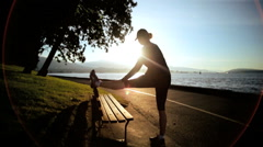 Sunrise Silhouette Young Fit Female Muscles Stretch Preparation City Outdoors Stock Footage