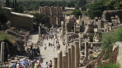 Wide Shot of Curetes Street in Ephesus Stock Footage