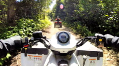 POV land machine ATV vehicle driving Off road Quad bike 4x4 Canada Stock Footage