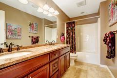 bathroom interior in light mocha color - stock photo