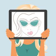 Woman holds tablet pc displaying fashion drawing Stock Illustration