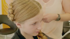 Hairdresser Young Gril Making Cornrows - stock footage