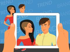 Photographing of happy couple on blue background using white tablet pc - stock illustration