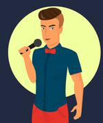 male rock singer with microphone - stock illustration