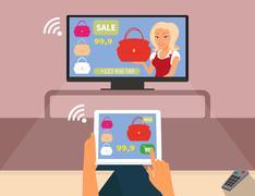 Multiscreen interaction. - stock illustration