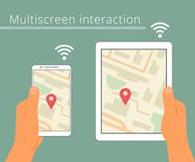 Stock Illustration of Multiscreen interaction. Synchronization of smartphone and tablet pc