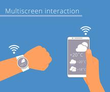 Multiscreen interaction. Synchronization of smart wristwatch and smartphone Stock Illustration