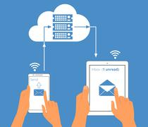 Multiscreen interaction. E-mail synchronization of smartphone and tablet pc via - stock illustration