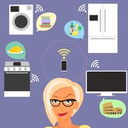 Blond woman thinking about smart gadgets at home and applications around her - stock illustration