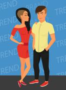 Hipster guy and his sensual girlfriend wearing stylish haircut Stock Illustration