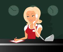 Female blond receptioonist is taking a call in the hotel - stock illustration