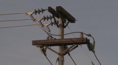 Closeup of Power Lines on Pole Stock Footage